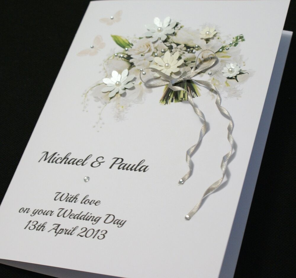 Wedding Cards: LARGE Handmade Personalised BEAUTIFUL BOUQUET