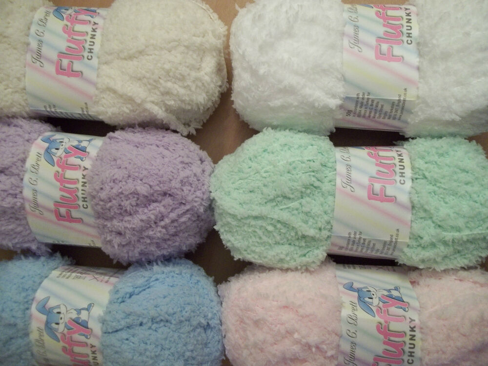James brett baby fluffy chunky yarn also knits to for For sale on line