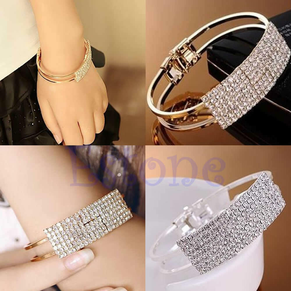 fashion women elegant wristband bangle crystal cuff bracelet bling hand chain ebay. Black Bedroom Furniture Sets. Home Design Ideas