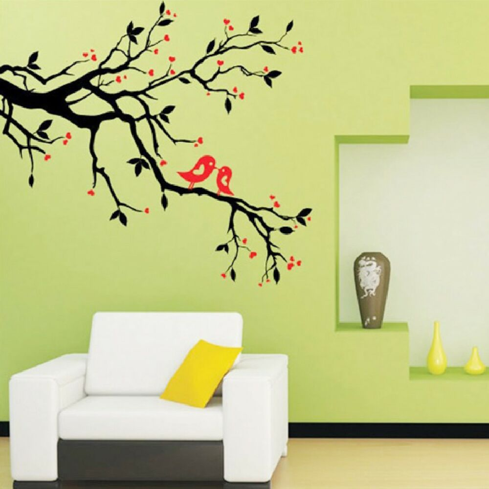 Tree branch bird diy art wall decal decor room stickers for Decoracion para pared vintage