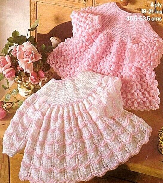 Free Knitting Patterns For Angel Babies : VINTAGE KNITTING PATTERN BABY ANGEL TOPS 4 ply 18