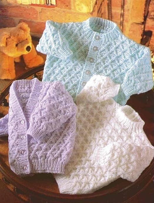 Knitting Patterns For Babies Double Knitting : BABY KNITTING PATTERN Double Knit CARDIGAN & SWEATER 16 18 20 22