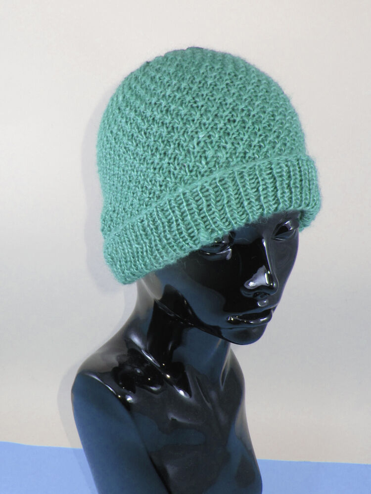 Knitting Pattern Beanie Hat Double Knitting : PRINTED KNITTING INSTRUCTIONS-DOUBLE MOSS STITCH BEANIE ...