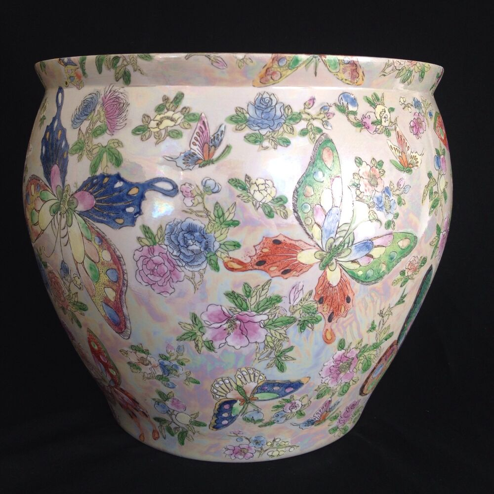 Chinese fish bowl planter butterflies flowers 8th 9th for Chinese fish bowl planter
