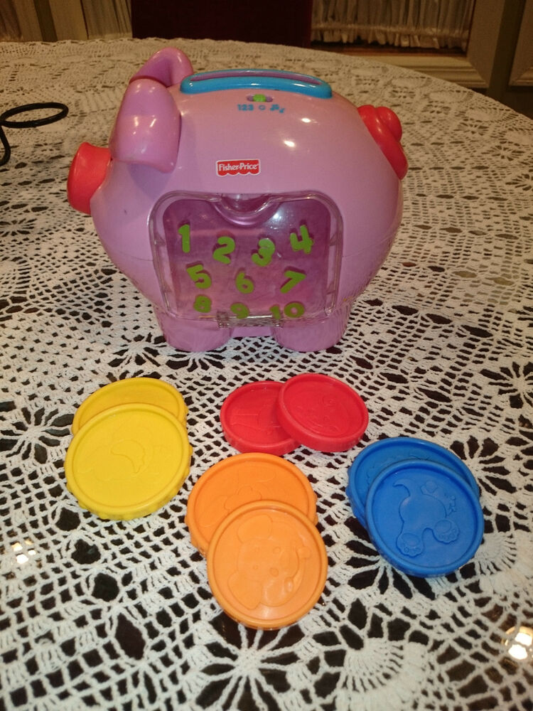 Fisher price laugh learn piggy bank musical counting piggy bank w 8 coins euc ebay - Counting piggy bank ...