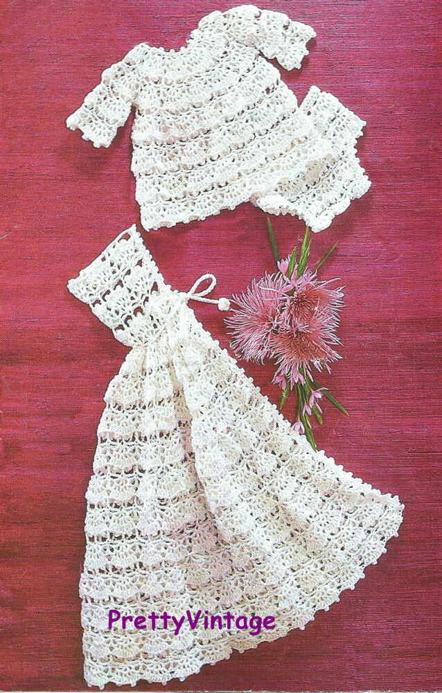 VINTAGE CROCHET PATTERN TO MAKE BABY DK LACE DRESS PANTS ...