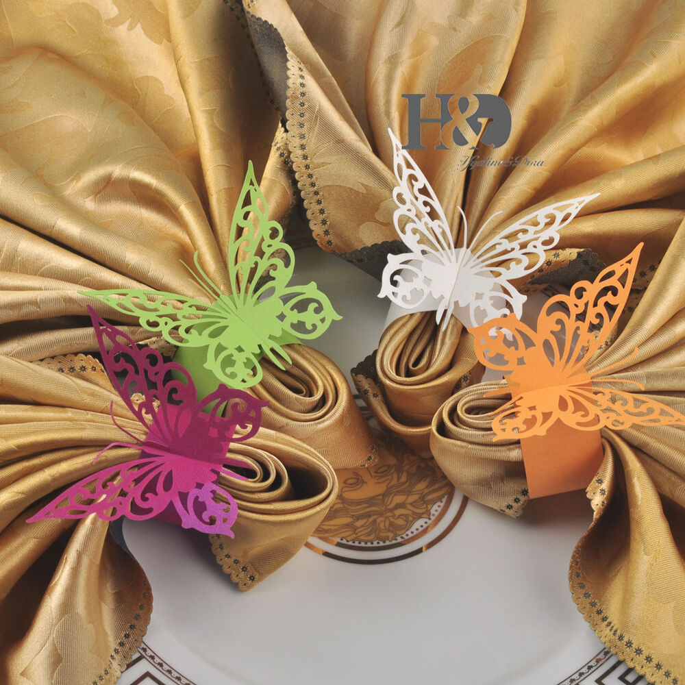 big butterfly paper napkin rings holders wedding party. Black Bedroom Furniture Sets. Home Design Ideas
