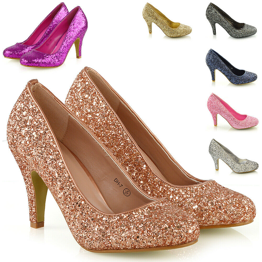 Pink Low Heel Wedding Shoes: WOMENS GLITTER SHOES BRIDAL SLIP ON LOW HEEL LADIES