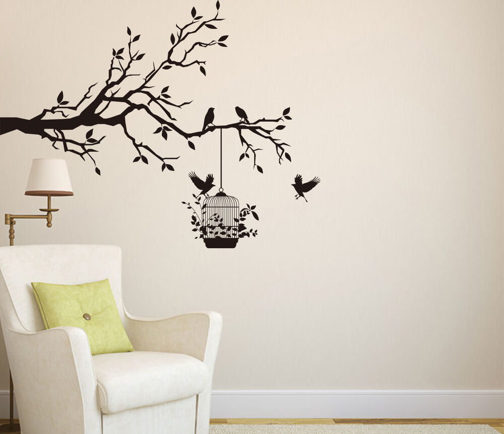 Tree branch with birds cage art vinyl wall sticker wall for Vinyl wall art