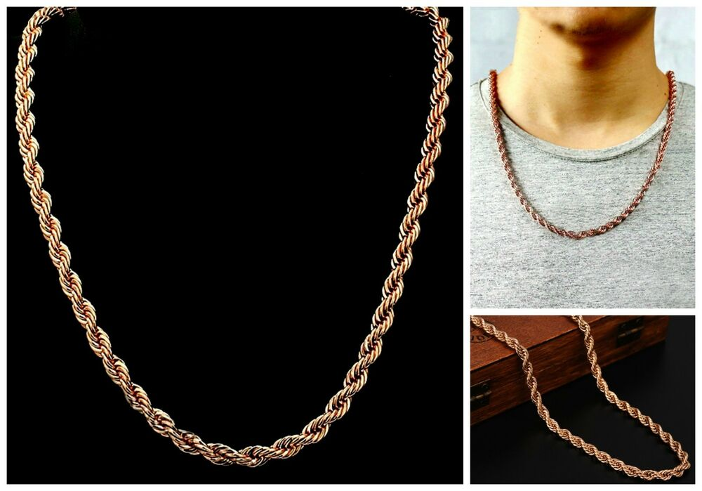 Men S Amp Women S 5mm Pvd Bonded Quot Rose Gold Quot 20 24 Amp 30 Quot Rope Chain Necklace Ebay