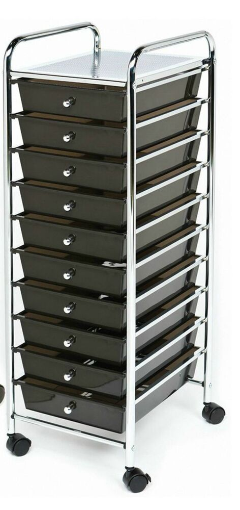 Chrome 10 Drawer Rolling Scrapbook Cart Storage Paper