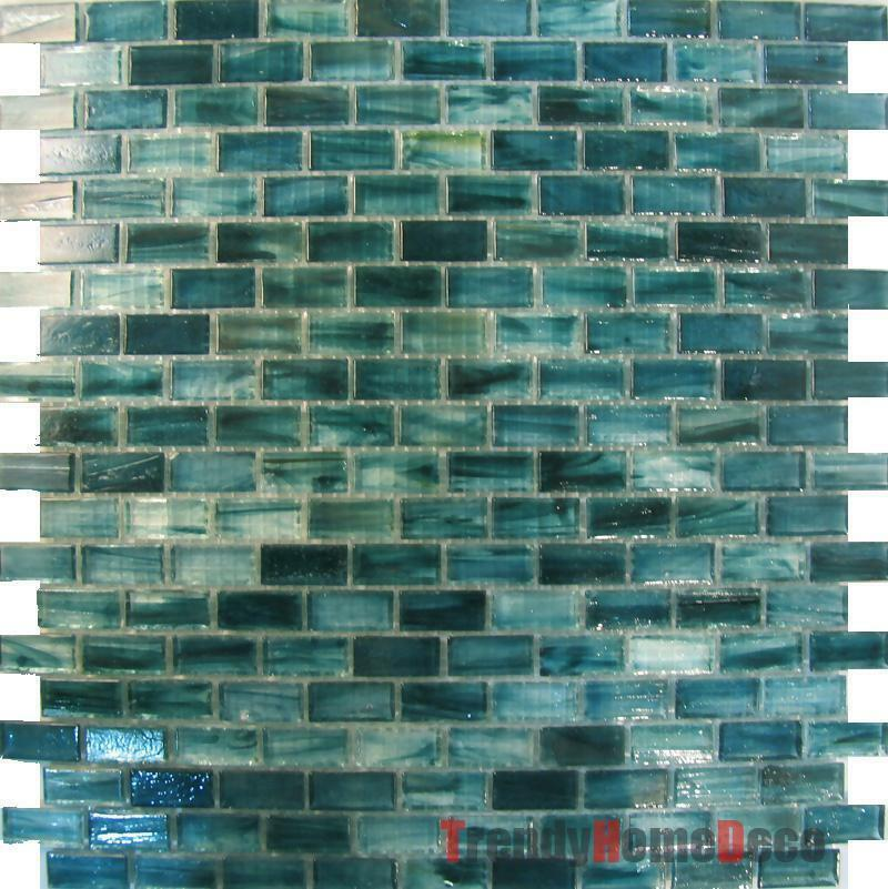 SAMPLE Blue Recycle Glass Mosaic Tile Backsplash Kitchen Wall Sink Bath Wal