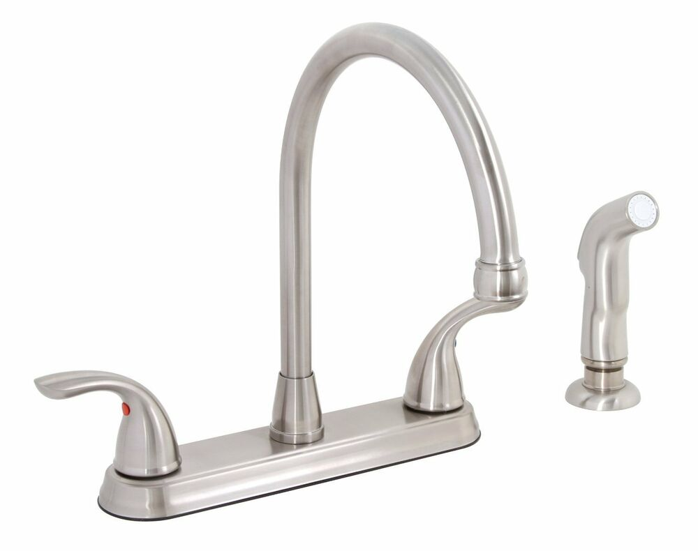 premier 120448lf bayview brushed nickel two handle kitchen two handle kitchen faucet with matching side sprayer