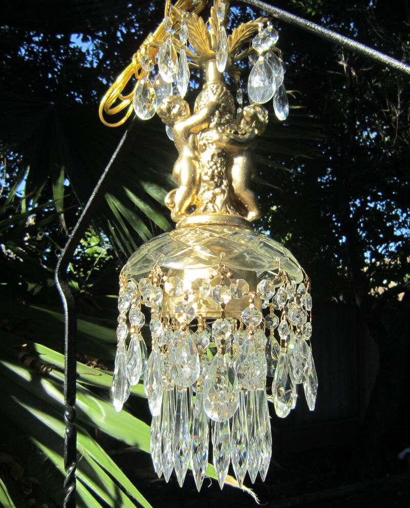 Swag Plugin Vintage Glass Crystal Cherub Hanging Lamp Chandelier Brass Plt 1of2 Ebay