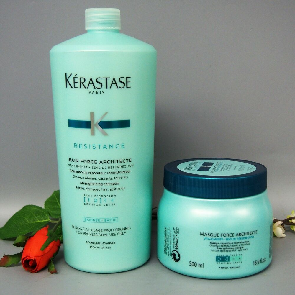 Kerastase bain and masque force architecte 1000ml 500ml for Bain miroir 1 kerastase