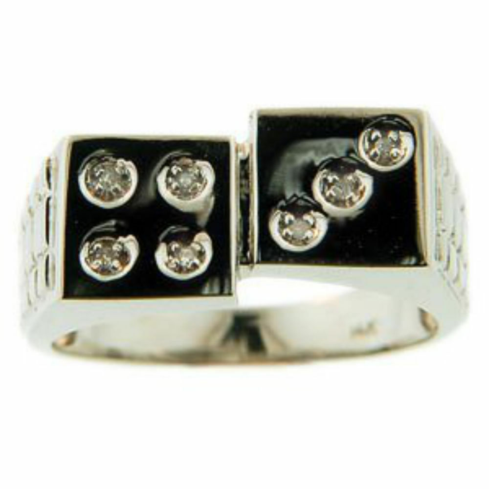 LUCKY 7 DICE Mens Diamond Ring Craps Ring Sterling Silver