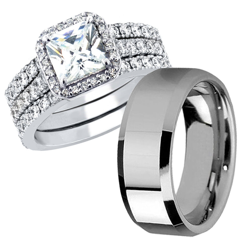 his stainless steel band hers sterling silver ct wedding