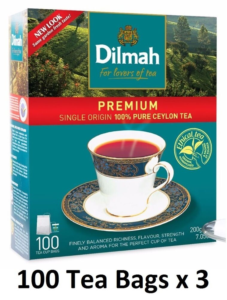dilmah premium 100 tea bags x 3 bopf black tea srilanka pure ceylon tea 600g ebay. Black Bedroom Furniture Sets. Home Design Ideas