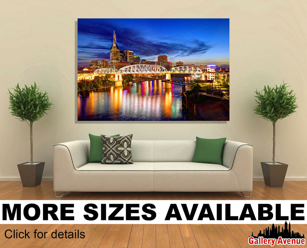 Wall art canvas picture print skyline of downtown for Home decor nashville tn