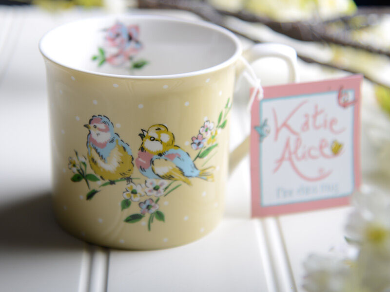 katie alice bird song yellow fine china palace mug shabby chic ebay. Black Bedroom Furniture Sets. Home Design Ideas
