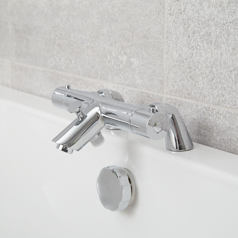 Deck Mounted Chrome Plated Brass Thermostatic Mixing Valve: Modern Bathroom Thermostatic Bath Shower Mixer Valve