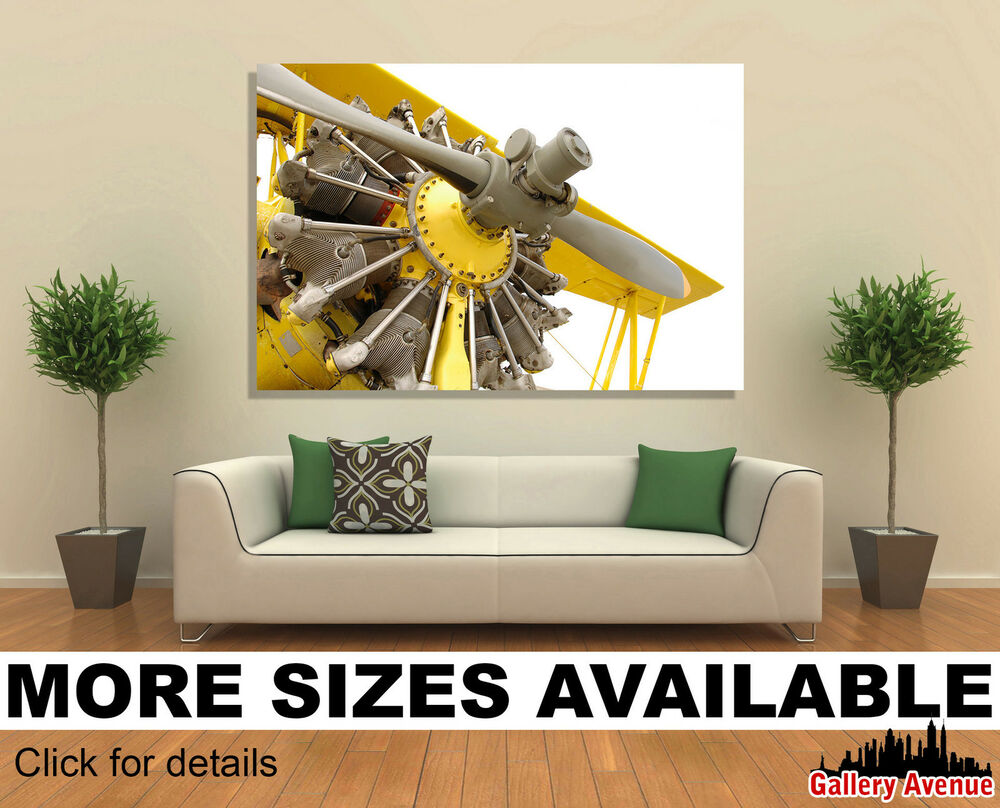 Wall Art Canvas Picture Print Vintage Airplane Engine