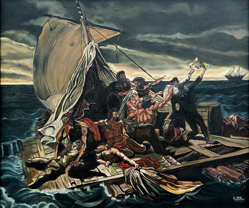 OIL PAINTING ON CANVAS (RAFT OF MEDUSA) REPRODUCTION OF ...