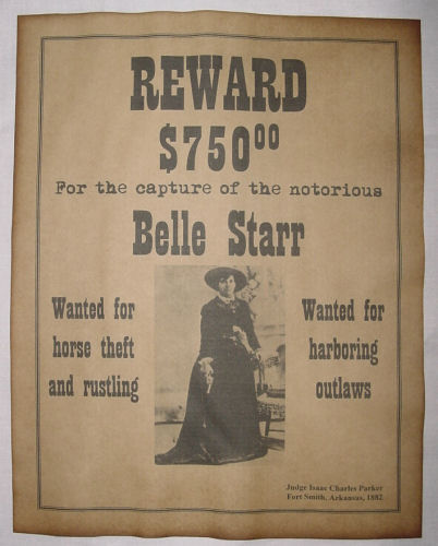 belle starr wanted poster western outlaw old west ebay
