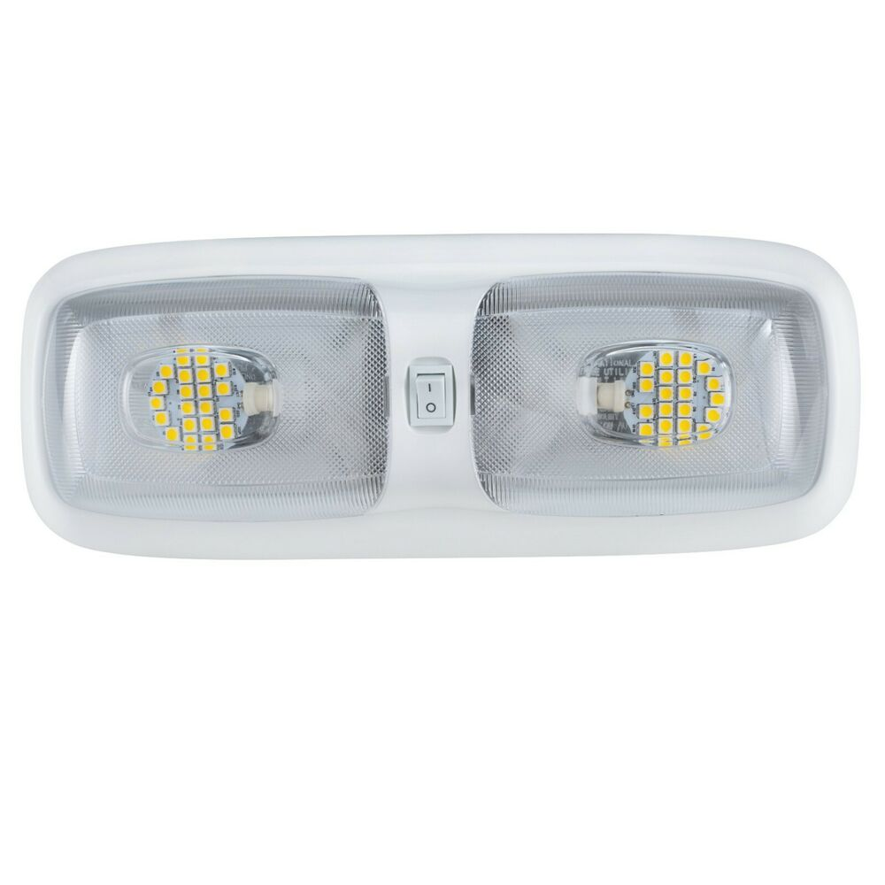 rv led 12v fixture double dome light 3200k warm white camper trailer marine ebay. Black Bedroom Furniture Sets. Home Design Ideas