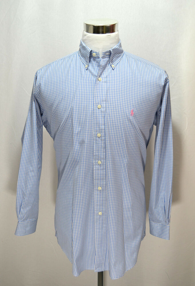 Chaps Shirt Mens Size 16 34/35 Long Sleeve Classic Fit Broadcloth Black New A52 See more like this Lands' End Mens Plaid Shirts Size Lot of Two First Aid Safety First Logo Pre-Owned.