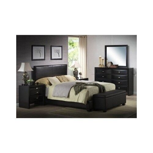 Modern queen size leather faux bed frame bedroom headboard - Bed frames for small rooms ...