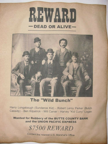 Wild Bunch Gang Wanted Poster, Western, Outlaw, Old West ...