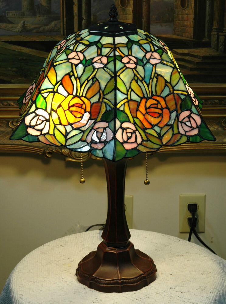 16 Quot W Roses Stained Glass Tiffany Style Table Desk Lamp