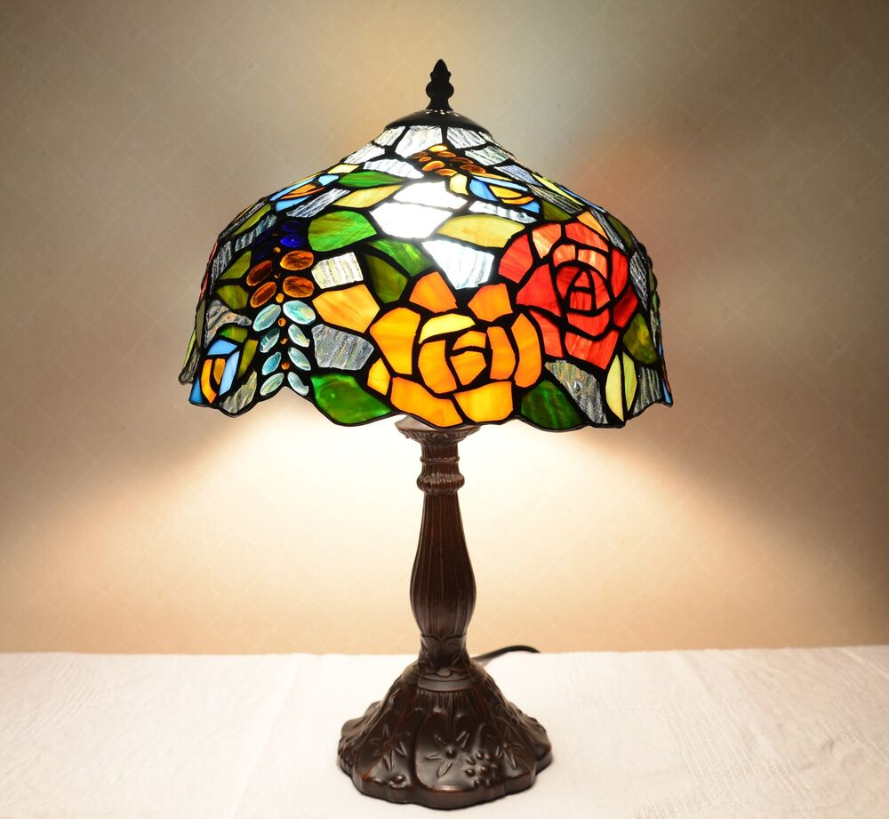 flowers stained glass tiffany style table desk lamp zinc base ebay. Black Bedroom Furniture Sets. Home Design Ideas