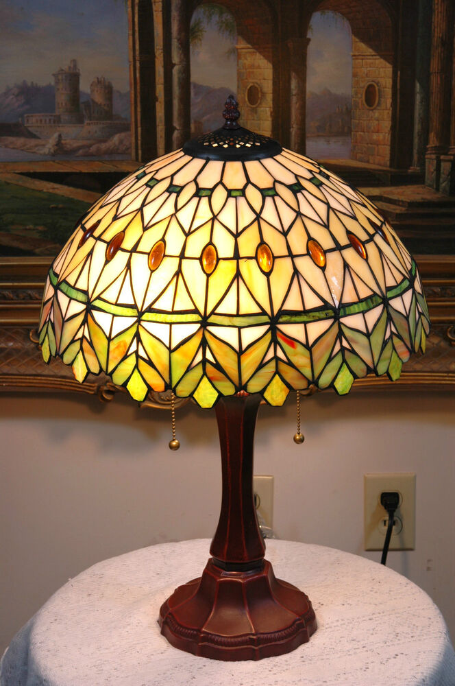 16 Quot W Yellow Green Jeweled Stained Glass Tiffany Style Table Desk Lamp Zinc Base Ebay