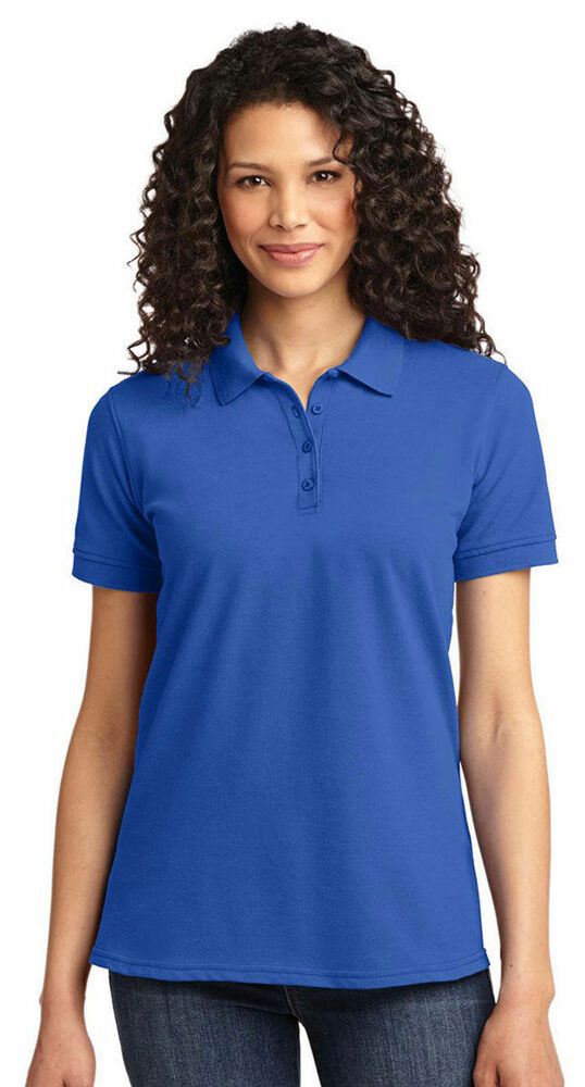 Port company women 39 s four button short sleeve polo golf for Womens button up polo shirts