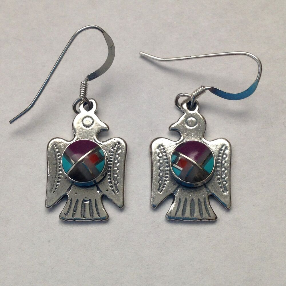 made earrings sterling silver handmade inlay thunderbird hook dangle 4484