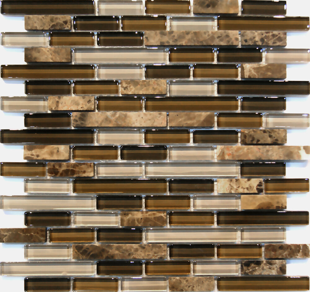 Sample Brown Glass Natural Stone Linear Mosaic Tile Wall: Sample Emperor Marble Brown Glass Blends Mosaic Tile