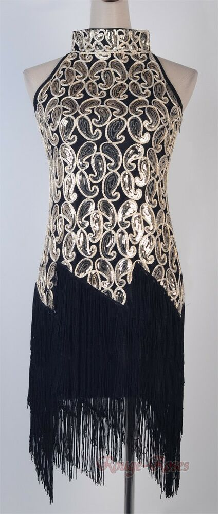 1920 S Flapper Black Dress Sexy Clubwear Great Gatsby