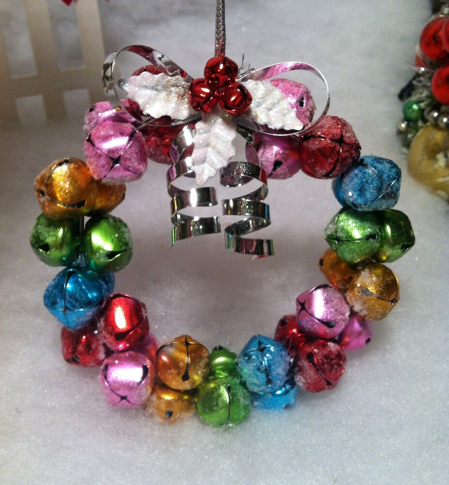 Metal candy theme pastel sugared jingle bell wreath for Jingle bell christmas ornament crafts