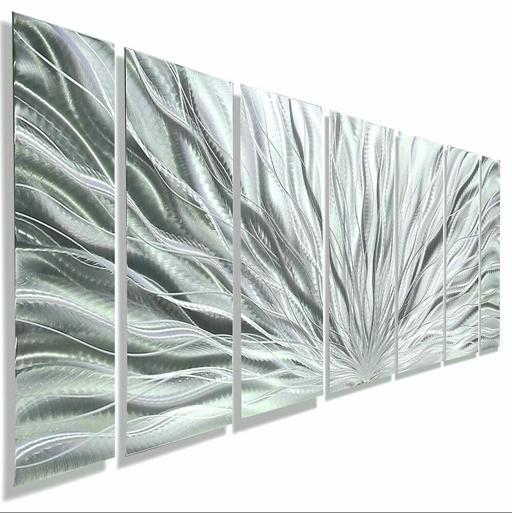 silver modern abstract metal wall art sculpture home decor jon