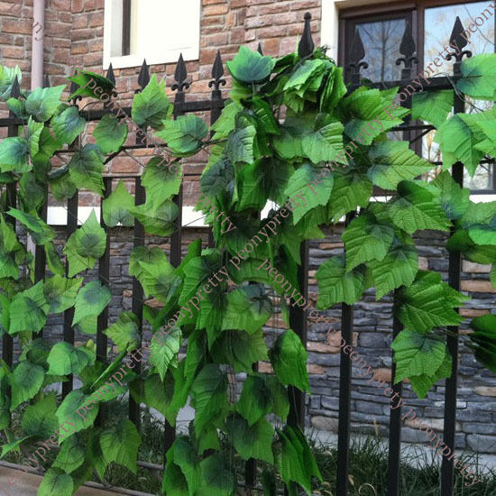 Long artificial grape leaves plant foliage vine home porch for Artificial grape vines decoration