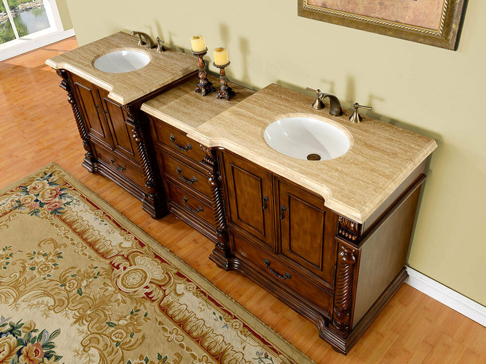 92 Double Sink Bathroom Vanity Travertine Stone Countertop Modular Cabinet 275t Ebay