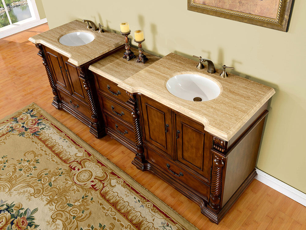 92 double sink bathroom vanity travertine stone countertop modular cabinet 275t ebay - Double bathroom vanities granite tops ...