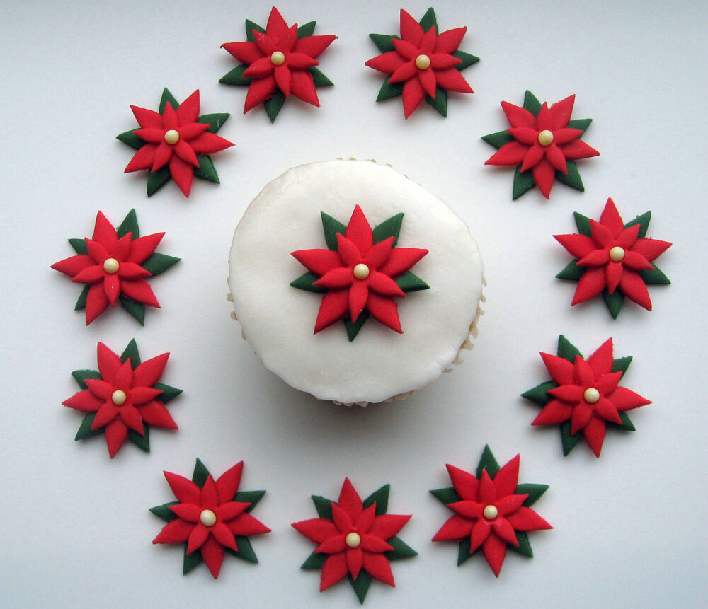 Green Cake Decorations Uk : EDIBLE ICING RED & GREEN POINSETTIA FLOWER CHRISTMAS CAKE ...
