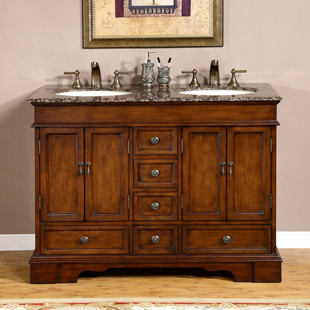 48 baltic brown granite top lavatory double sink bathroom for Granite bathroom vanity