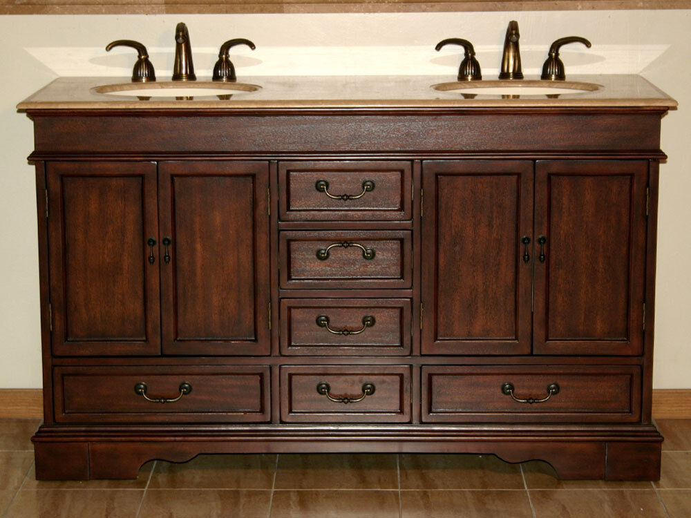60 Bathroom Furniture Double Sink Vanity Bath Cabinet Travertine Stone Top 715t Ebay