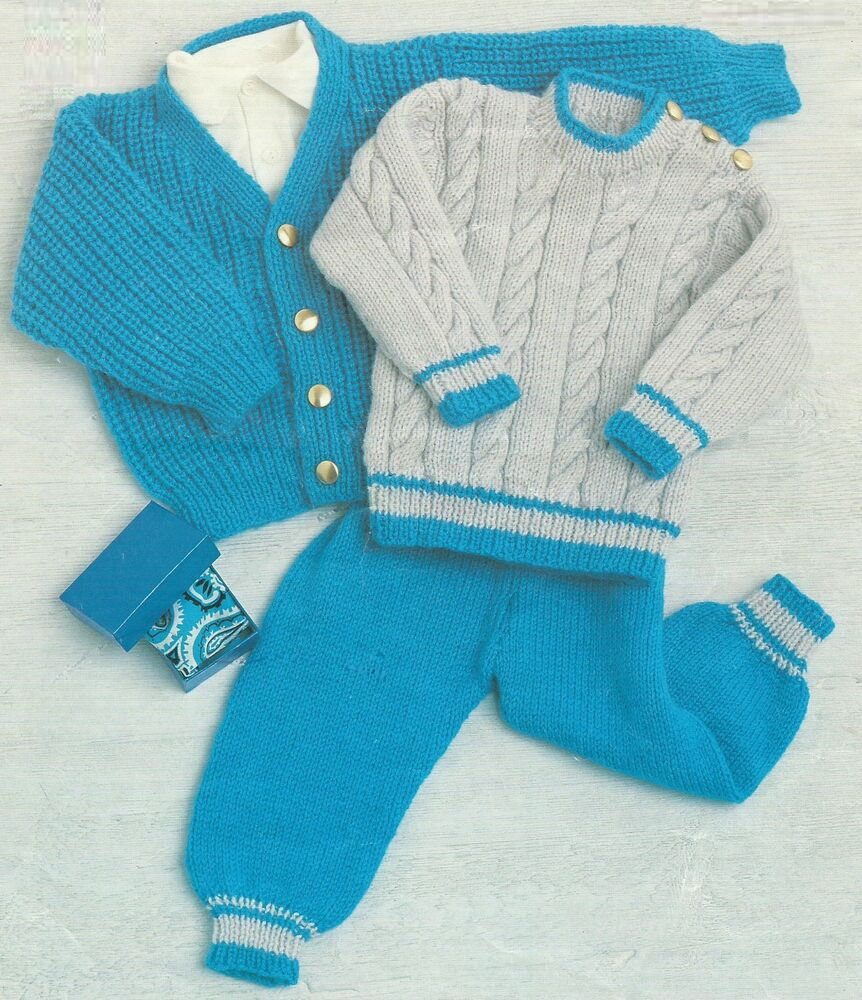 Baby Boy Pullover Knitting Pattern : Baby Boys Knitting Pattern Cardigan Sweater Pants 18-26 ...