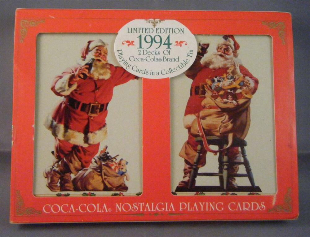 nos 1994 le coca cola santa 2 decks sealed playing cards in collectible tin box ebay. Black Bedroom Furniture Sets. Home Design Ideas