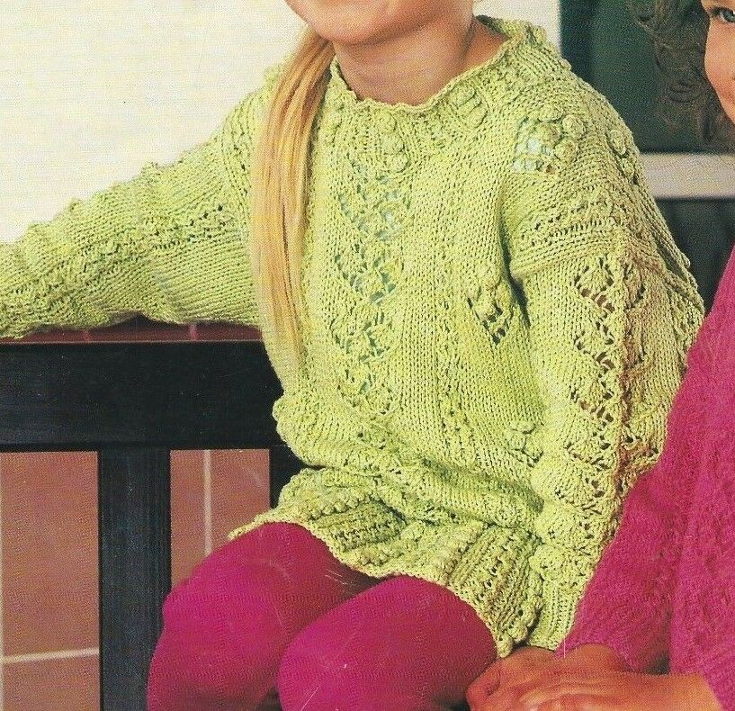 83c9025bc Details about Girls Tunic Sweater Knitting Pattern with Bobbles and Lace  20-26